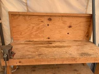 Wood Workbench With Columbian No  44 Vise location Front Storage