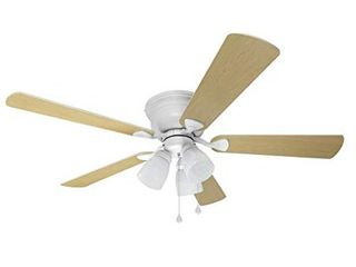 Harbor Breeze Centreville 42 in White Indoor Flush Mount Ceiling Fan with light Kit   MISSING ONE SHADE