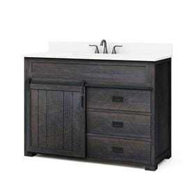 Style Selections Morriston Distressed Java Single Sink Vanity with White Engineered Stone Top  Common  48 in x 20 in