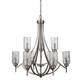 latchbury 9 light Brushed Nickel Craftsman Textured Glass Tiered Chandelier