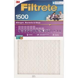 Filtrete 16x25x4 Allergen Bacteria and Virus Air Filter 1550 MPR