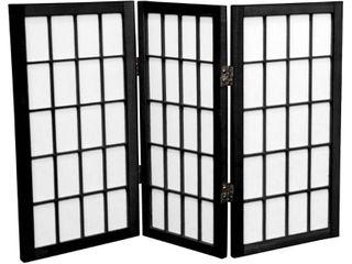 2 ft  Tall Desktop Window Pane Shoji Screen   Black  3 Panels    Oriental Furniture
