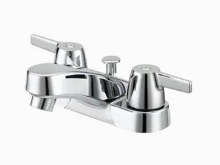 Project Source Chrome 2 handle 4 in Centerset WaterSense Bathroom Sink Faucet with Drain