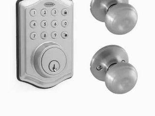 Satin Honeywell digital deadbolt and knob 8732305