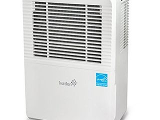 Ivation 70 Pint Energy Star Dehumidifier with Pump  for Spaces Up to 4 500 Sq Ft  Includes Programmable Humidity  Hose Connector  Auto Shutoff and Restart  Casters and Washable Filter APPEARS USED