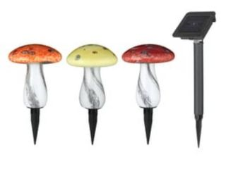 3 Pack Red Yellow Orange Solar Powered lED Path lights  NO YARD STAKES