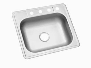 Kingsford 25 in x 22 in Satin Single Bowl Drop In 4 Hole Residential Kitchen Sink