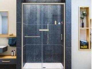 Dreamline Infinity Z 72 in H x 44 in to 48 in W Semi Frameless Bypass Sliding Brushed Nickel Shower Door  Clear Glass