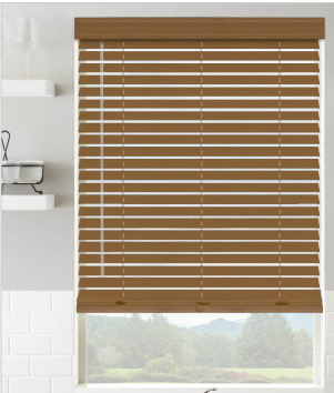 levolor 2  in Walnut Faux Wood Blinds 19 In X 64 In    Not Inspected