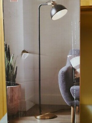 58 Inch Allen Roth Black soft Gold Shaded Floor lamp Indoor living Room ligh   Not Inspected  t