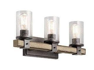 3 light Kichler 37421 Wood Bathroom Vanity Wall light