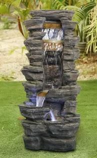 40 INCH H Rockery Shower Outdoor Water Fountain w lED lights for Home  Appears Pre Owned    Retail 301 99