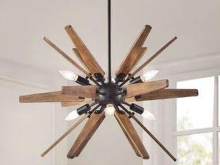 Bernice Antique Black Sputnik Natural Wood 6 light Chandelier  Retail 178 99