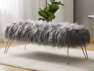 Silver Orchid Nilsson Contemporary Faux Fur long Bench Ottoman  Grey