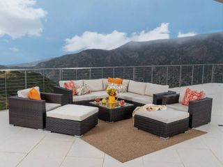 Incomplete  Right Arm Chair Only  Santa Rosa Outdoor 10 piece Wicker Sectional Sofa Set with Cushions by Christopher Knight Home  Retail 2035 49