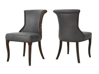 lexia Microfiber Dining Chair  Set of 2  by Christopher Knight Home  Slight Damage to One Front leg    Retail 383 49