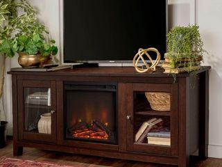 58 inch Traditional Brown 2 Door Fireplace TV Stand Console  Retail 354 99