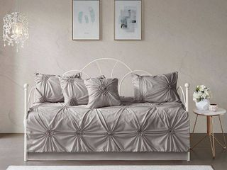 Madison Park lorilyn Dark Gray 6 piece Day Bed Cover Set with Elastic Embroidery  Retail 75 98