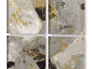 Silvia Vassileva  Painted Desert Neutral  4 piece Gallery Wrapped Canvas Square Set  Retail 216 22
