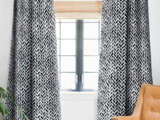 little Arrow Design Co Arcadia Herringbone In Black Blackout Curtain Panel  Retail 91 49 Set Of 2 Panels