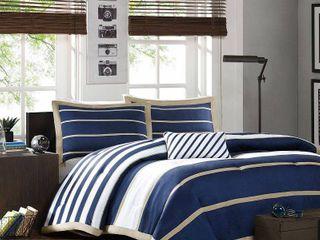 Mi Zone Garrett Navy Printed Full Queen Comforter Set