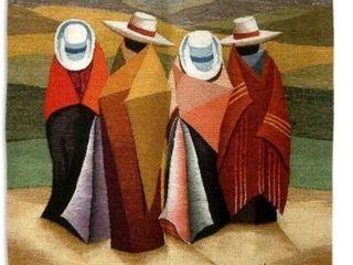 Handmade Peruvian Horse Riders Wool Tapestry  Peru  Retail 251 49
