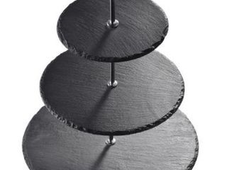 3 Tier Cupcake Tower Stand Slate Tiered Serving Tray   8  x 10
