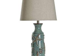 StyleCraft Blue Bay Ceramic Table lamp   Beige Hardback Fabric Shade  Retail 122 99