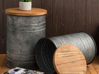 Glitzhome 19 H Farmhouse Galvanized Metal Nesting Storage Accent Table  Set of 2 Retail 112 99