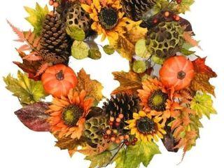 Platon Fall Artificial Pumpkin Sunflower Cone Wreath 24