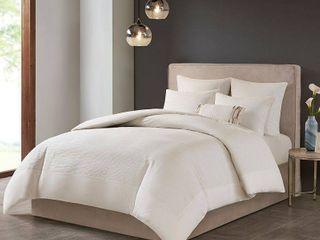 Natori Hanae Full Queen Cotton Blend Yarn Dyed 3 Piece Comforter Set Bedding