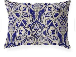 Mahal Navy Indoor Outdoor lumbar Pillow by Kavka Designs   20 X14   Set Of 2