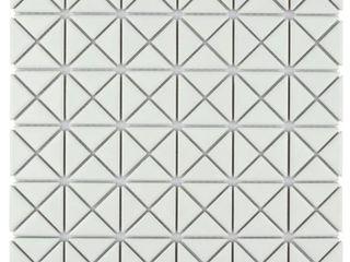 SomerTile Tri Mini Crossover Matte White Porcelain Mosaic Floor and Wall Tile  4 Box  40 tiles Sheets  Retail 140 22