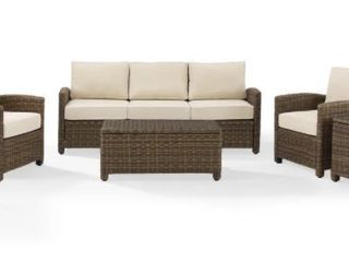 Cushion Covers Only  Bradenton 5 Piece Outdoor Wicker Set Sand Cushions Covers