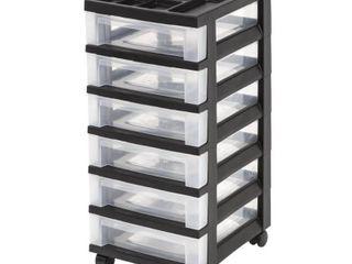 IRIS Medium 6 Drawer Cart with Organizer Top  Black