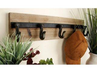 24  x 6  Industrial Iron   Wood 5 Hook Wall Rack by Studio 450