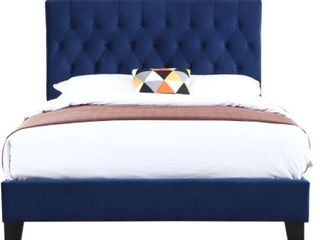 Porch   Den Delcoa Tufted Upholstered Queen Royal Blue Velvet Bed  Missing Hardware