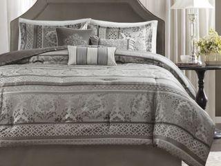 Madison Park Venetian Grey Jacquard 7 piece Cal King Comforter Set  Retail 121 99