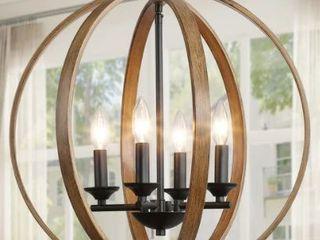 The Gray Barn Whitethorn 4 light Faux Wood Globe Chandelier lighting  Retail 209 49