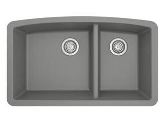 Karran Undermount Quartz Composite 32 in  60 40 Double Bowl Kitchen Sink in Grey