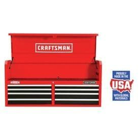 CRAFTSMAN Heavy Duty 52 in W x 24 5 in H 8 Drawer Ball bearing Steel Tool Chest  Red  dent