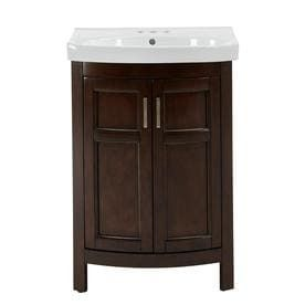 Style Selections Morecott Chocolate Single Sink Vanity with White Vitreous China Top  Common  24 in x 18 in