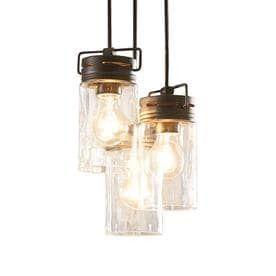 allen   roth Vallymede 9 84 in Aged Bronze Farmhouse Multi light Clear Glass Jar Pendant
