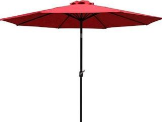 ODAOF 9  Patio Umbrella Outdoor Table Umbrella with 8 Sturdy Ribs  Red  with lights powered by Tonman Solar Panel