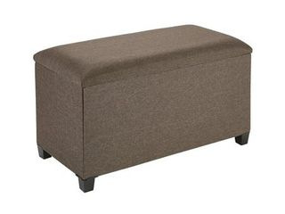 Fresh Home Elements Storage Bench  Premium Wood Tray and Feet  Rich linen Upholstery   Brown