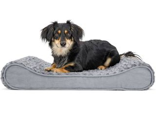 FurHaven Pet Dog Bed Orthopedic Ultra Plush luxe lounger Pet Bed for Dogs   Cats  Gray  Medium