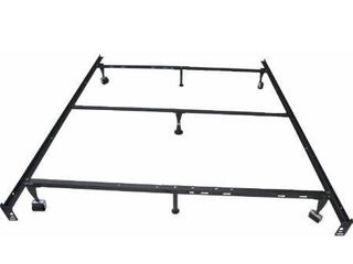 Kings Brand 7 leg Super Duty Adjustable Metal Bed Frame  Queen Full Xl Twin Xl  with Center Support bar   Rug Rollers locking Wheels