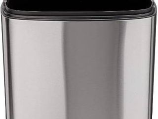 AmazonBasics Rectanglular  Stainless Steel  Soft Close  Step Trash Can  50 liter  13 2 Gallon  Satin Nickel
