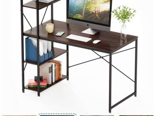 Bestier Computer Desk with Shelves Writing Desk with Storage Bookshelf Reversible Study Table Office Corner Desk with Shelves Home Office Desk with Bookshelf Easy Assemble