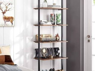 HOMFA 5 Tier Industrial ladder Shelf Against The Wall  72 6 Inches Display Storage Rack Plant Flower Stand Utility Organizer Bookshelf Wood look Accent Metal Frame Furniture Home Office